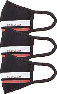 US Polo Association Unisex's cotton Face Mask (3 Set) (USMAK0016_ Navy_ OP)
