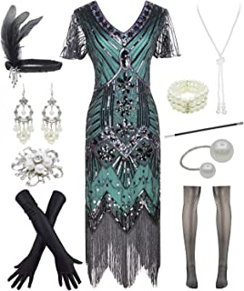 Letter Love Women 1920s Gatsby Vintage Sequin Flapper Fringe Party Dress with 20s Accessories Set