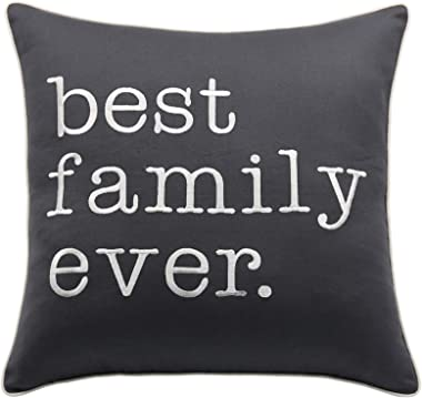 Rudransha Best Family Ever 18x18 Square Embroidered Decorative Accent Throw Pillow Cover - Charcoal Grey