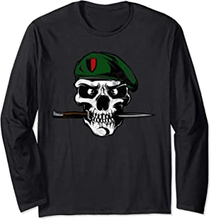 Soldier Skull With Knife Military Long Sleeve T-Shirt
