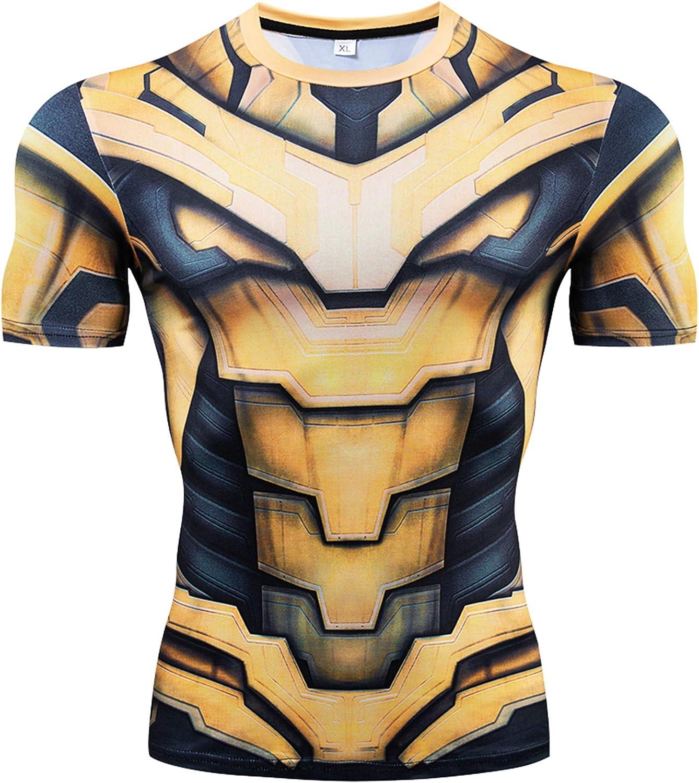 YUNYIYIS Mens Super-Hero Compression Sports Fitness Elastic T-Shirt Quick-Drying Running