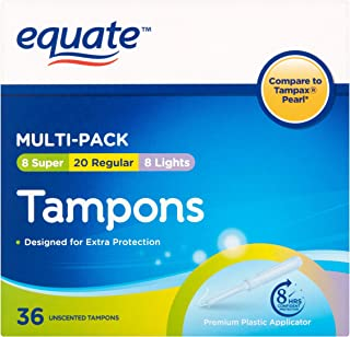 Equate Multipack Assorted Tampons, Unscented, 36 Ct