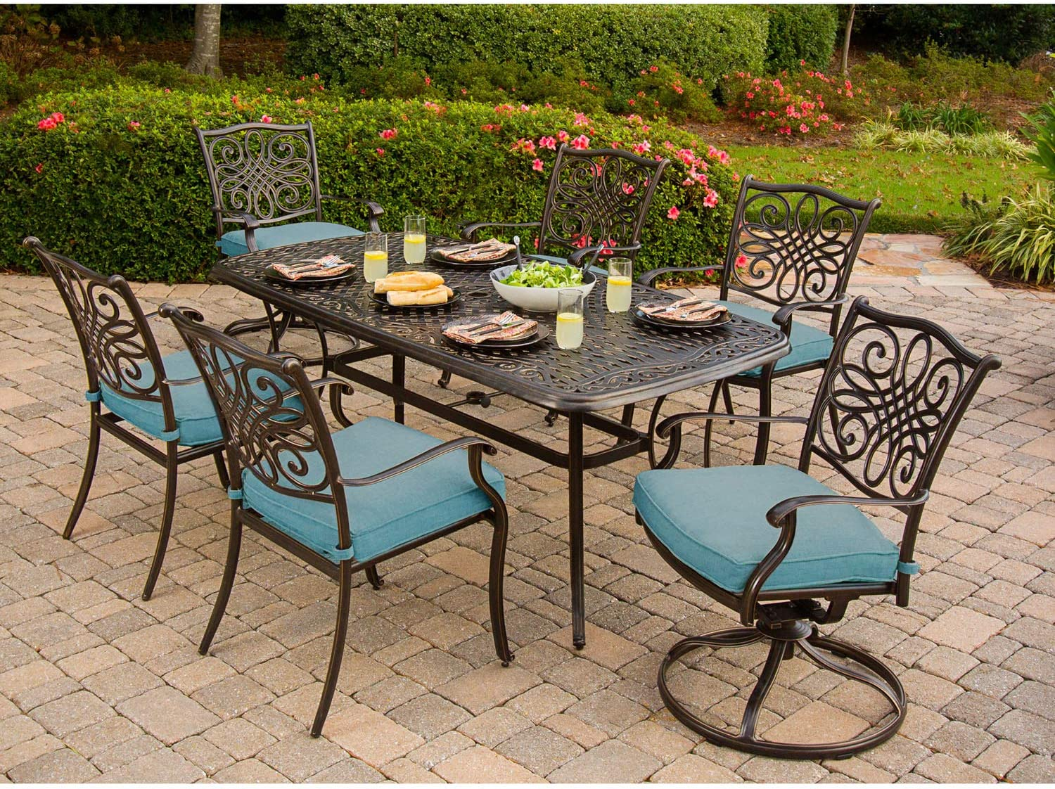 Hanover Traditions 10 Piece Cast Aluminum Outdoor Patio Dining Set, 10  Stationary Chairs, 10 Swivel Rocker Chairs, Brushed Bronze Finish with Blue  ...