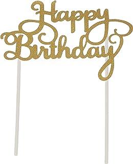 Generic VG-CS-PARTY-CTOP-1 Glitter Happy Birthday Cake Topper, Gold