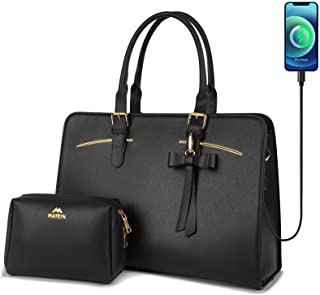 Laptop Tote Bag for Women, Large Waterproof PU Leather Work Briefcase with USB Charging Port Casual Computer Shoulder Bag ...