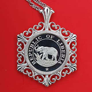 Beautiful 1978 Liberia 5 Cent Gem Proof Elephant Coin 925 Sterling Silver Necklace NEW - Wildlife Animal