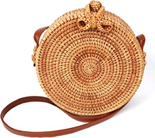 "Rattan Bag for Women Round Handwoven Crossbody Shoulder Purse Handworked Straw Bags with leather straps 8"" x 3.5"" (20 x 8 cm)"