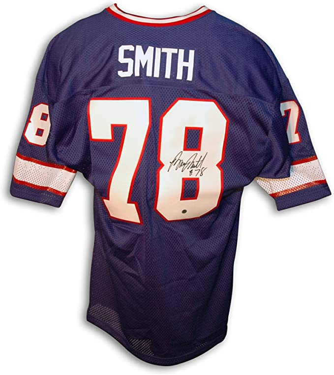 Amazon.com: Bruce Smith Jersey - Throwback Blue - Autographed NFL ...