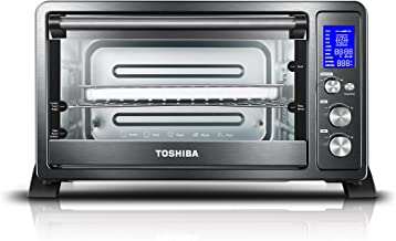 Toshiba AC25CEW-BS Digital Toaster Oven with Convection cooking and 9 Functions, 1500W,..