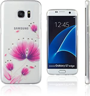 Xcessor Flower Glossy Flexible TPU Case for Samsung Galaxy S7 Edge SM-G935 - Transparent/Pink