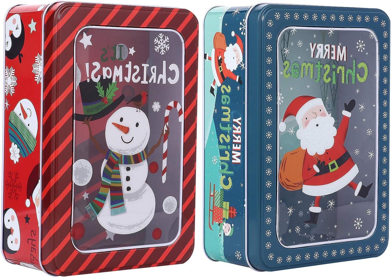 NUOBESTY Minneapolis Mall 2pcs Christmas Candy Santa Snowman Claus Regular dealer Tins