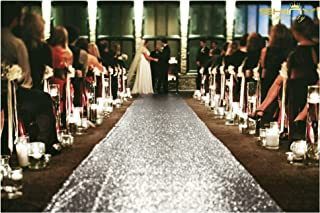 ShinyBeauty Aisle Runner Tape-Silver-4FTX15FT,Shimmer Sequin Fabric Wedding Floor Runner,Glitter Carpert Runner