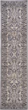 Unique Loom Kashan Collection Traditional Floral Overall Pattern with Border Gray Runner Rug (2' 7 x 10' 0)