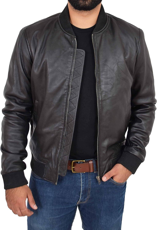 Mens Soft Leather MA-1 Bomber Jacket Slim Fit Varsity Style Ryan Black