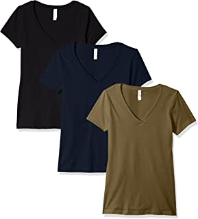 Clementine Apparel Women's 3 Pack Women's Ladies V Neck T Shirts SoftComfort Cotton Blend Short Sleeve Undershirt Top Tees Assorted Blank Solid Colors (1540)