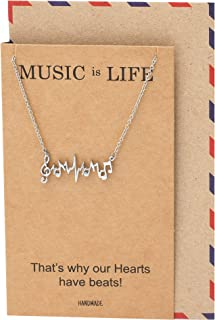 Music Note Necklace, Gifts for Music Lovers, Birthday Gifts for Women, Girls with Greeting Card, 16-inch to 18-inch