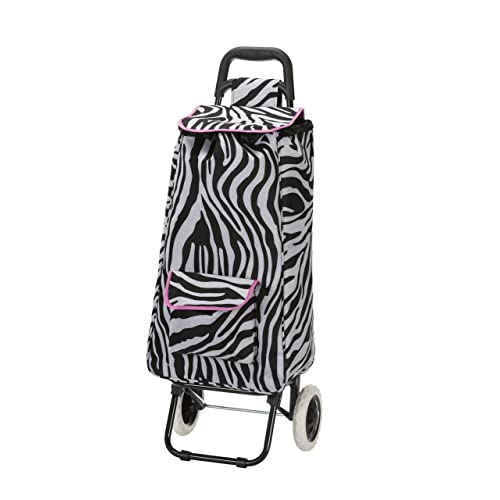 Rockland Rolling Shopping Tote, Pink Zebra