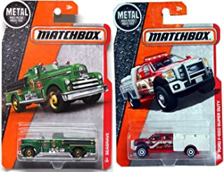 Matchbox 2016 Fire Trucks Heroic Rescue 2 PK MBX Ford F-550 Super Duty Fire Engine 1952 Seagrave #89 + 70 in PROTECTIVE CASES