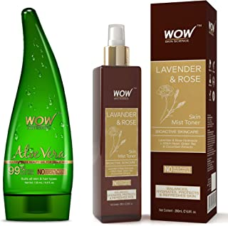 WOW Aloe Vera Multipurpose Beauty Gel for Skin and Hair, 130ml + 20ml And WOW Lavender & Rose No Parabens & Sulphate Skin ...