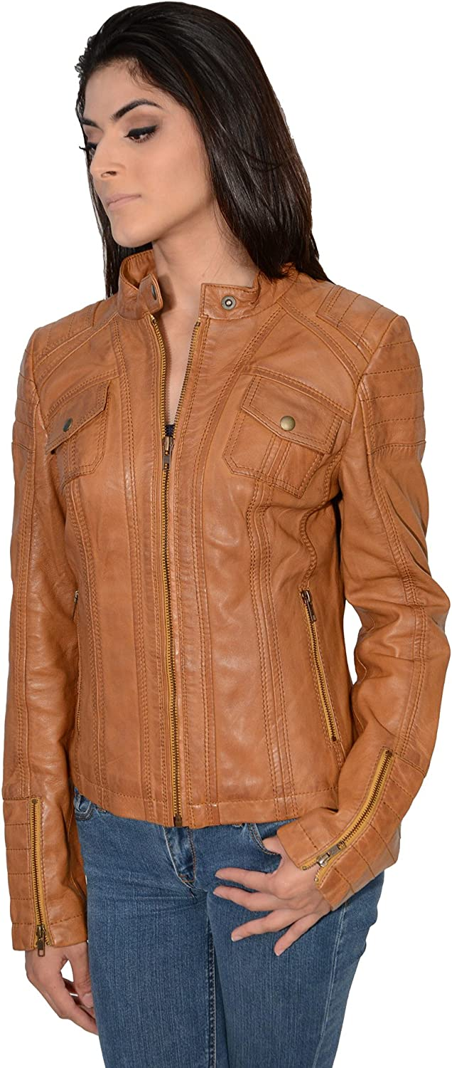 Milwaukee Leather Women's Mandarin Scuba Collar Jacket with Quilted Shoulders and Cuff (Cognac, 3XLarge)