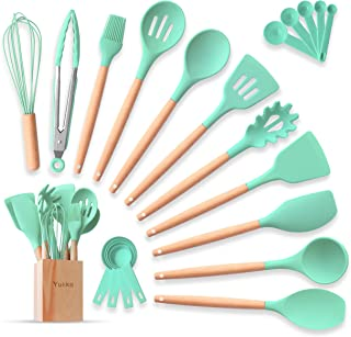 Complete Silicone Cooking Kitchen Utensil Set 22pcs Natural Bamboo Handles Non-Stick BPA-Free Non-Scratch Cookware W/ Wooden Holder Spatula Tongs Measuring Cups & Spoons Set Best Kitchen Gadget Tools