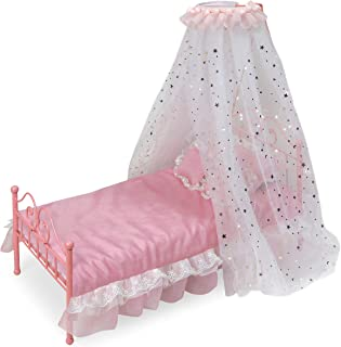 Badger Basket Starlights LED Lighted Canopy Metal Doll Bed with Bedding (fits American Girl Dolls)