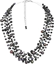 AeraVida Classy Cascades of Cultured Freshwater Black Pearls-Reconstructed Black Onyx Necklace