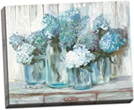 The Studio Resource, Inc. Beautiful Watercolor-Style Blue Hydrangeas in Mason Jar Floral Print; One 20x16in Stretched Canvas