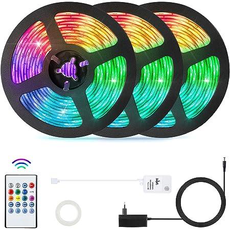 15 Meter RGB LED Streifen (3x5m),OxyLED LED Strips RGB Farbwechsel 450 LED Ferngesteuert Sync zur Musik Flexible LED Streifen mit Gedächtnis LED Lichterkette Strips für Zuhause,Schlafzimmer,Party,Bar