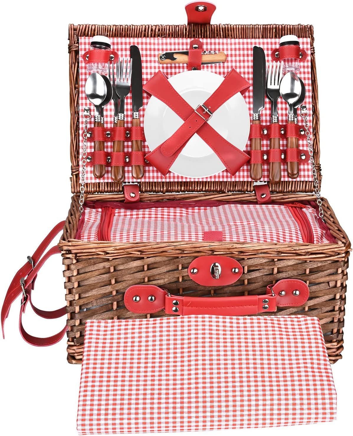 XUEMEI OFFicial Max 66% OFF site Rattan Hampers Picnic Basket Classic Family Set 4 for