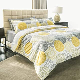 Ashler Bed Sheets Sets - Duvet Yellow&Grey 3 Piece Queen Size - Soft Microfiber Hypoallergenic 1800 Series Deep Pocket Fitted Sheets Wrinkle Fade and Stain Resistant