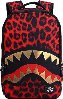Unisex Casual Daypack Unique Shark Backpacks School Shoulders Bag (Red 1)