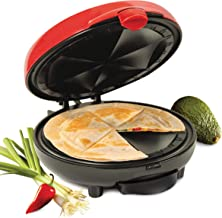 Nostalgia EQM200 6-Wedge Electric Quesadilla Maker with Extra Stuffing Latch, 8-inch, Red