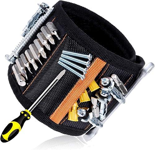 Rovtop Polsiera magnetica con 15 Magneti Robusti, Braccialetto Magnetico, salva le mani, fissa facilmente viti, chiod...