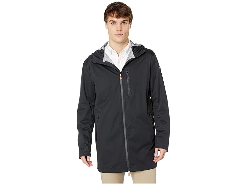 Save the Duck Long Rain Jacket (Black) Men
