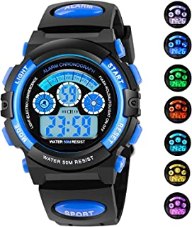 AZLAND 7 Colors Flashing Waterproof Outdoor Sports Kids Wristwatch Boys Girls Digital Watches Blue …