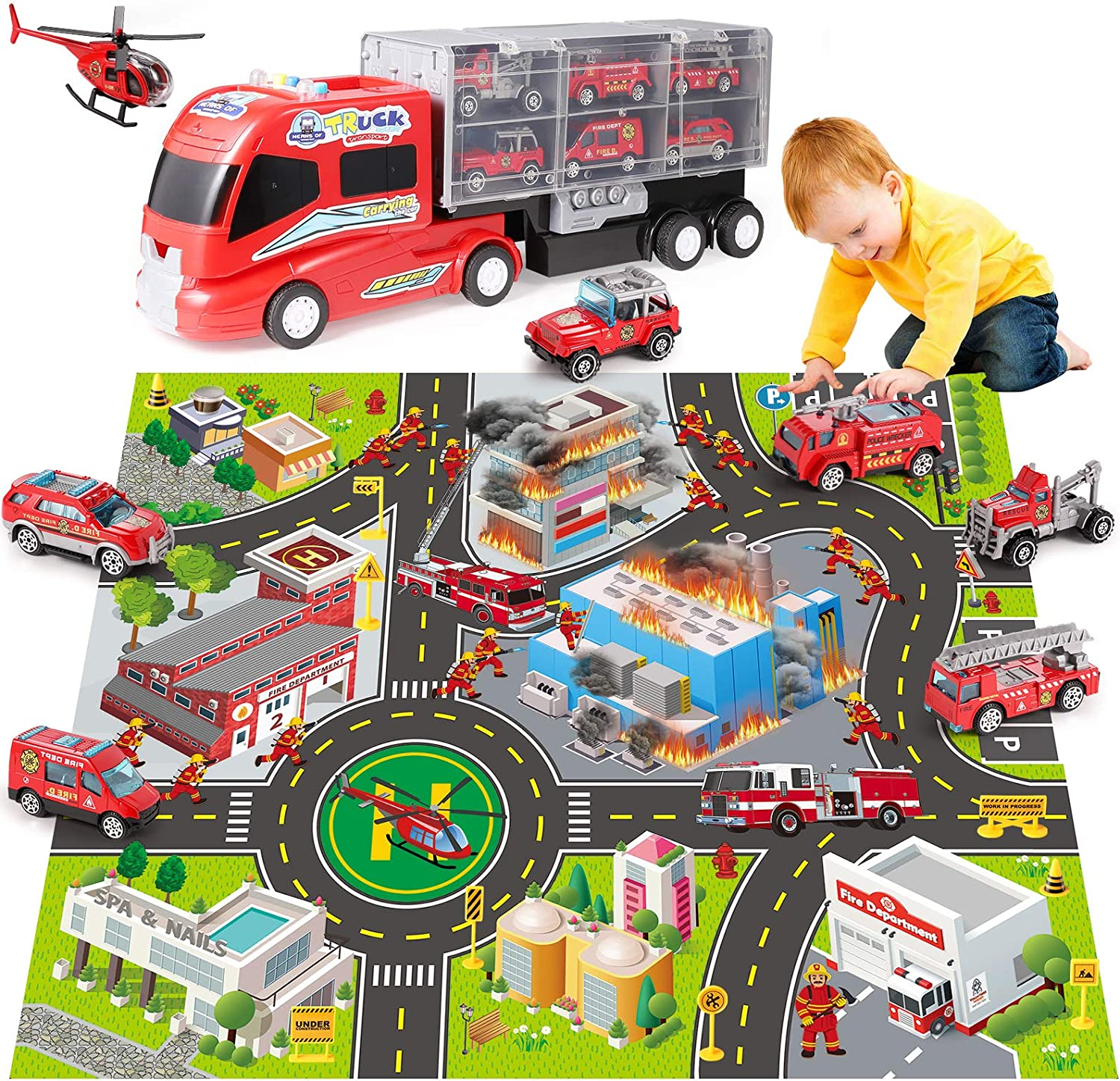 DOLIVE Kids Fire Carrier Truck Ranking TOP5 Transport Atlanta Mall Firefigh Set Car - Play