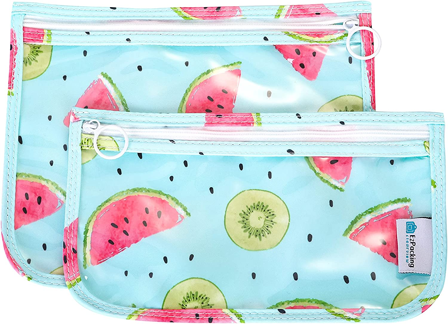 Aesthetic Clear Zipper Pouches (Set of 2) / Transparent Reusable PVC Organizers for Women's Purse or Baby Diaper Bag / Cute Slim Flat Japanese Style Watermelon Cactus Pencil Pouch for School or Travel (Watermelon)