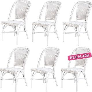 Rotin Design Rebajas : -43% Lote 6 sillas de ratán Blancas Comedor Selva