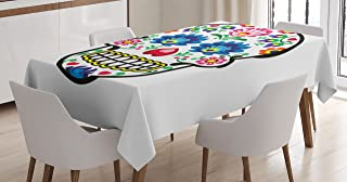 Ambesonne Sugar Skull Tablecloth, Polish Folkloric Art Style Mexican Sugar Skull Design Carnival Theme, Rectangular Table Cover for Dining Room Kitchen Decor, 52