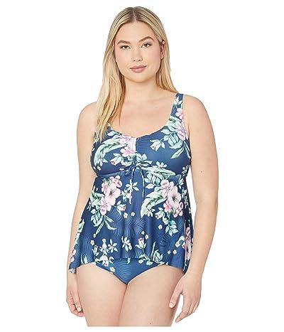BECCA by Rebecca Virtue Plus Size Costa Rica Shirred Front Tankini Top (Multi) Women