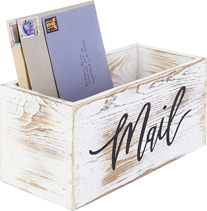 MyGift Whitewashed Wood Tabletop Decorative Mail Holder Storage Box with Letter Word Script Design
