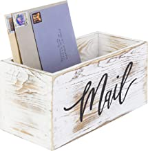 MyGift Whitewashed Wood Tabletop Decorative Mail Holder Box