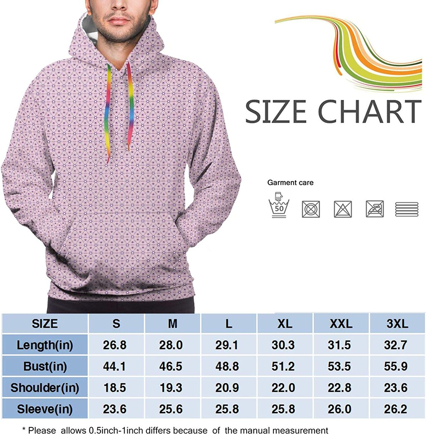 Men's Hoodies Sweatshirts,Continuous Abstract Pattern of Sweet Pastel Tone Diagonal Stripped Triangles