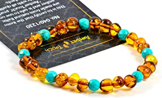 Baltic Amber Bracelet for Adults Made on Elastic Band – Carpal Tunnel, Arthritis, Headache, Migraine Pain Relief (B, 7.5 inch.)