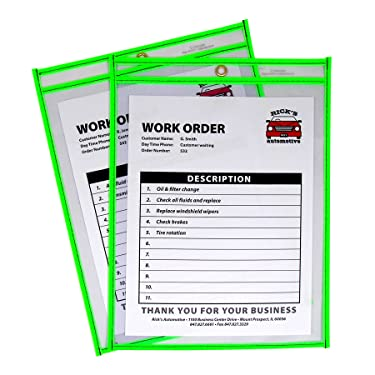 C-Line Neon Stitched Shop Ticket Holders, Green, Both Sides Clear, 9 x 12 Inches, 15 per Box (43913)