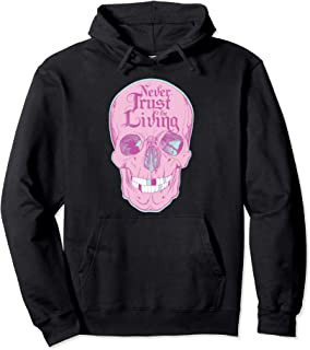 Never Trust The Living Emo Teen Pastel Goth Pink Skull Pullover Hoodie
