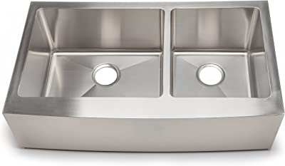 Hahn Handmade FH004 36-Inch Undermount 60/40 Double Bowl Farmhouse, X-Large
