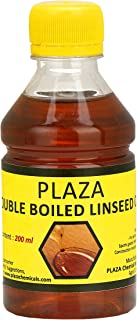 Double Boiled Linseed Oil by PLAZA - 200 ml Pack Used for Wood Finishing, On Walls Before Applying Paint, Mixing in Putty, Bare Wooden Furniture, Outside Wooden Furniture, Etc.
