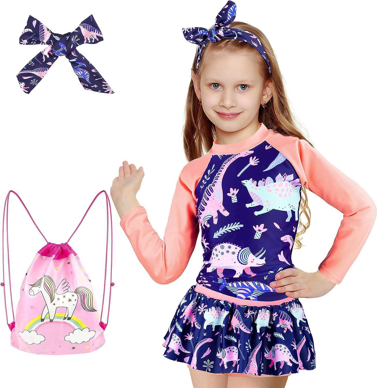 slaixiu Girls Sunsuit Swimwear Sets Max 65% OFF Sleeve Swi Kids Surfing Financial sales sale Long